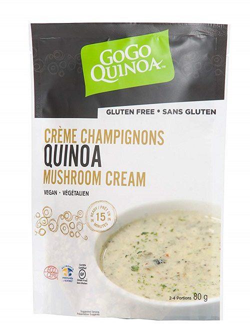 Vegan cream of mushroom quinoa soup